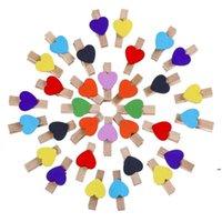 Forniture per feste Carino Clip di legno colorato clip a forma di cuore Clothespins Clip Paper PEG OWB5951