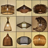 Pendant Lamps Style Antique El Bamboo Rattan Chandelier Personality Retro Bar Restaurant Teahouse Homestay Bird's Nest Lamp