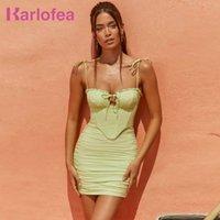 Karlofea corsé rurded bodycon ropa sexy club nocturno fiesta ropa preciosos trajes verdes para mujer 2021 y2k vestidos de verano de tiras Q0712