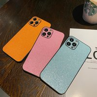 For iPhone 12 11 Mini Pro Max 7 8 Plus X XR XS Phone Cases Flitter Fashion Pink Luminous Camera Protection Leather Cell Back Cover