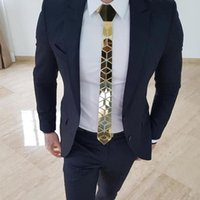 24k Gold Mirror Luxury Fashion Necktie Slim Fit With Gift Box Cutting Edge Design Men Ties Plaid Pattern For Business Gift ,Weddi