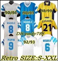 1990 Waddle Retro Home Soccer Jersey 91 92 93 98 99 Olympique de Marseille Away Cantona Papin Cantona Desailly Classico camicia da calcio ritorno classica