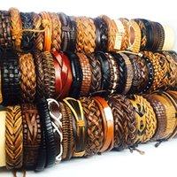 Bulk Lots 50pcs pack Wholesale Mix Black Brown Men's Women's Retro Handmade Real Leather Surfer Cuff Bracelets