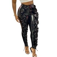 Women's Pants & Capris Black Faux PU Leather Women Trousers Push Up High Waist Skinny Pencil Sexy Ruffles Club Party Female Gothic