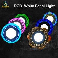 Lumière de panneau RGB ultra mince 9W 18W 24W ronde en retrait RGB + WHITE LED plafonniers de plafonniers de fleur décoration lumières intérieures 110v 220V