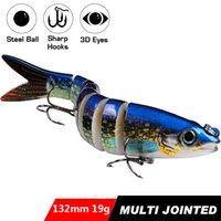 8PCS Artificial Plastic Hard Bait 8 Sections Fishing Lure 13.5cm 19g Jointed Swimbait Crankbait Wobbler Trout Bass 6# High Carbon Steel Treble Hook