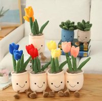 Tulipán realista Carne Novedad Artículo Planta Plush Peluche Toy Toy Soft Bookshelf Decorativo Doll Creative Potted Flowers Lanzar almohada Niños Regalo 2022