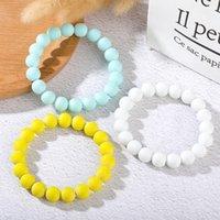 10mm Cracked Beaded Bracelet Strands Natural White Yellow Blue Crystal Agate Stone Yoga Bracelets for Women Men Transfer Lucky Jewelry