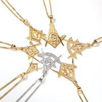 Hip Hop Bling Gold Color Color in acciaio inox Masonic Masons Pendants Collane per uomo Rapper Gioielli Goccia Ciondolo