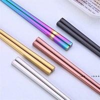 Novos pauzinhos de titânio brilhante de titânio, Colorido de aço inoxidável de aço inoxidável Rose Gold Black Arco-íris Quadrado Publos FWB10635