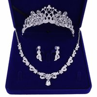 Earrings & Necklace Crystal Bridal Jewelry Sets Women Rhinestone Wedding Tiaras Crown Party Set For Bride Hair Accessories