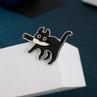 만화 크리 에이 티브 블랙 고양이 모델링 팝 - 에나멜 핀 옷깃 배지 브로치 재미 패션 쥬얼리
