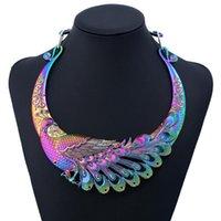 Collares colgantes exagerados colorido pavo real pavo real gargantilla collar de gargantilla para mujeres niñas boda compromiso de compromiso joyería accesorios