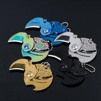 Kostenloser DHL-Klappmesser Nette Keychain-Messer Mini-Münze-Messer-Außen-EDC-Werkzeug-Schlüssel-Hängende Schnalle tragbare Überlebensmünze-Falten kleiner Q-Messer