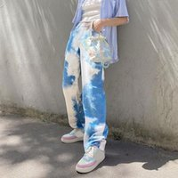 Pantalones para mujer Capris Corbata Tinte Impreso Largo Mujer Ropa Harajuku Slim Slim Moda Moda Alta Cintura Azul Pantalones Pantalones Y2K E Girls