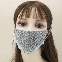 Bling Rhinestone Personality Jewlery Facemask For Women Fashion Girl Elastic Decoration Straps Hollow Mask Night Club WFWB