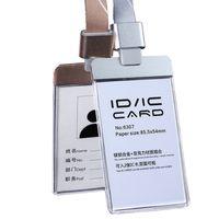 Temizle Şeffaf Akrilik Kimlik IC Kart Tutucu Boyunluklar KIMLIK Rozeti Tutucu Ekli Alaşım Bağlayıcı Geçiş Nametag için Geri Çekilebilir Boyun Rozeti Kılıf