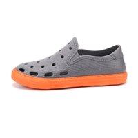Moda Erkek Koşu Ayakkabıları Mavi Siyah Gri Turuncu Plaj Delik Nefes Terlik Erkekler Rahat Sandalet