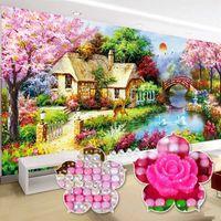 5D DIY 풀 다이아몬드 자수 코티지 하우스 홈 장식 거실 풍경 새로운 특별한 모양의 그림 60 색