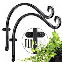 Hooks & Rails Iron Wall Light Hook Bracket White Black Wind Chimes Garden Hanging Basket Planter Lantern Flower Pot Home Decoration 1 Pair