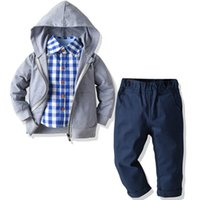 2-6 Years Suit For Boy Kids Clothes Toddler Boy Outfits Grey Hooded Coat + Plaid Shirt + Blue Pants Autumn Costume Children