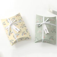Fresh Floral White Cardboard Little Creative Gifts Candy Packaging Box Paper Folding Pillow Paper Box