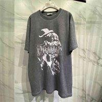 Высокая улица промытыми старыми винтажными футболками с футболками Rhody мужчины летом повседневная негабаритный ковбой напечатаны RHODE футболка Top Tees C0325