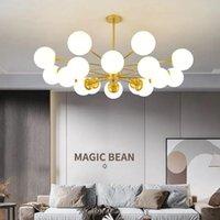 Araña de frijol sencilla moderna sala de estar dormitorio iluminación conjunto norte europeo creativo luz multi-luz fuente colgante lámparas colgantes