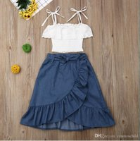 2021 Summer Kids Baby Girls Clothes Fashion set Dress 2pcs Toddler Sleeveless Lace White Top +Denim Skirts Outfits Kid Sets