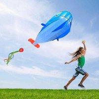 Utomhus sport stor 3d ramlös flykt drake med 30m linje barn barn leksak mjuk jätte val 190t polyester fiber