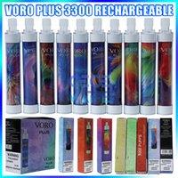Voro Plus Recargable Vape Vape Pen E Dispositivo de cigarrillo con la batería de 650mAh de la luz RGB de 4,8 ml de 4,8 ml Preumente 3300 Puffs Kit resplandeciente