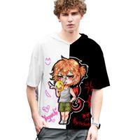 Men's T-Shirts Cartoon Yarichin Bitch-Men Hooded T-Shirt Summer 3D Print V-Neck Streetwear Casual Oversized