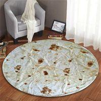 Carpets Home Textile Round Rug Delicious Interesting Quiche Roll 60CM Tortilla Blanket Burrito 4 Color Mat