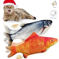 Cat Toys 30CM Pet Toy Electric USB Charging Simulation Dancing Moving Floppy Fish Cats For Interactive Dog Drop