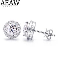 AEAW 2ctw DEF White Diamond Test Passed Moissanite Silver Earring Jewelry GemStone Girlfriend Gift Special Price for Women