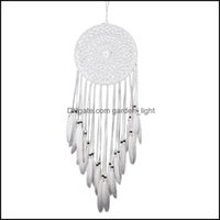 Aents Décor Gardenwhite Lace Dream Catcher Home Hanging Flower Wind Chime Feather Pendant Wall Decoration Decorative Objects & Figurines Dro