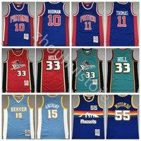 تسليم سريع رمي كرة السلة اسيوية توماس جيرسي 11 دينيس رودمان 10 جرانت هيل 33 dikembe mutombo 55 كارميلو أنتوني 15 كرة السلة قميص أعلى جودة