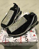 Diamant Sorrento Strass Logo Schuhe Damen Slip-On Sneaker Stretch Kristall-verzierte Stricksocke-Trainer Zweifarbige Gummi Micro Sole Crystal Herren Casual Shoe