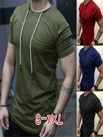 남성 T 셔츠 O 넥 슬림 솔리드 컬러 주름 장식 4 색 패션 옴므 남성 의류 힙합 티셔츠 streetwear