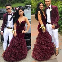 Burgundy Velvet Mermaid Prom Dress 2021 Plus Size Sweetheart Ruffle Organza Floor Length Formal Bridesmaid Special Occasion Gowns