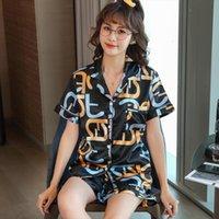 Pijama Set Moda Seksi İpek Kadın Pijama Suit Ev Giysileri Mektup Baskı Pijama Mujer Yaz Pijama Femme Nightgown