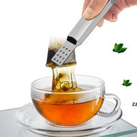 Metalen lepel mini suiker clip thee blad zeef herbruikbare roestvrij stalen theezak tang theezakje squeezer zeef houder grip 100 stks hw8627