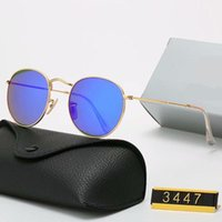 YXTJTJ Klasik Tasarım Marka Yuvarlak Güneş Gözlüğü UV400 Gözlük Metal Altın Çerçeve Yasak Gözlük Erkek Kadın Ayna Cam Lens Güneş Gözlüğü Ile ZRE