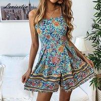 Leviortin Designer Floral Pagliaccetto Tuta Donne con cintura Bohemian Flower Print Beach Playsuit senza spalline Bohocombinaison Tute da donna