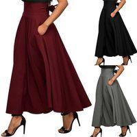 Skirts Fashion Elegant Women High Waist Flared Pleated Long Gypsy Maxi Skirt +Pockets 5 Sizes Womens