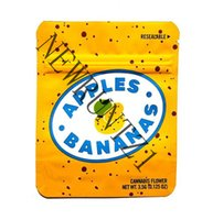 Желтый откидливый напечатанный матовый пищевой zip замок хранения пакета пакета пакета 3,5 г печенье в стоять в мешках мешки из фольги Mylar Favors
