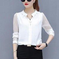 Blusa de gasa Mujer Tops de manga larga con cuello en V Cuello de trabajo Camisetas elegantes Lady Blousas Casual Blusas Tallas Blusas de mujer # 8.3