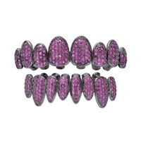 18k Real Gold Teeth Grillz Caps Iced Out Zircon 8 Teeth Top &Bottom Vampire Fangs Dental Grill Set Wholesale