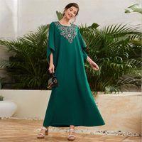 Ethnic Clothing Kaftan Embroidery Abaya Dubai Women Maxi Dress Muslim Turkey Caftan Loose Arab Robe Party Gown Islam Moroccan Vestidos