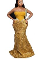 2021 Plus Size Arabic Aso Ebi Gold Mermaid Sexy Prom Dresses Beaded Sequined Sheer Neck Evening Formal Party Second Reception Bridesmaid Gowns Dress ZJ664